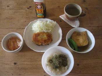 お昼ごはんは冷凍しておいた手作りコロッケと残りの煮物.jpg